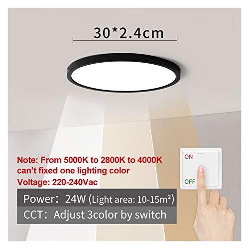 Sencillez Luz de techo LED Shell Negro 12W 18W 24W 32W 4000K Lámpara moderna de techo de superficie para lámparas de baño de dormitorio de cocina para el pasillo de la sala de estar