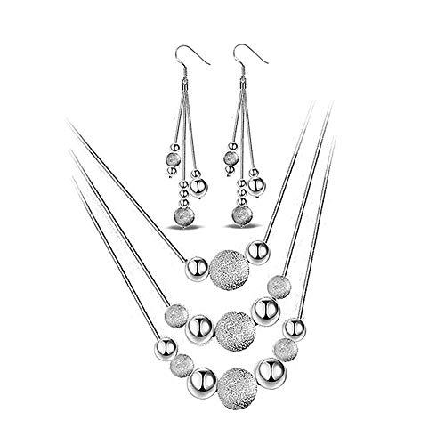 PLUS PO Circle Silver Necklace Mens Chain Necklace Creative Necklace Sister Necklace Sparkly Necklace Necklace for Gift Romantic Necklace Earring Necklace