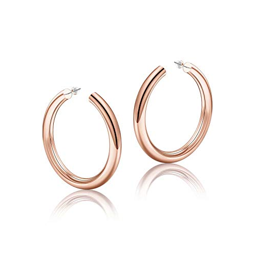 Rose Gold Hoop Earrings for Women, 14K Rose Gold Plated Lightweight Chunky Open Hoops 40mm Rose Gold Hoop Earrings for Women