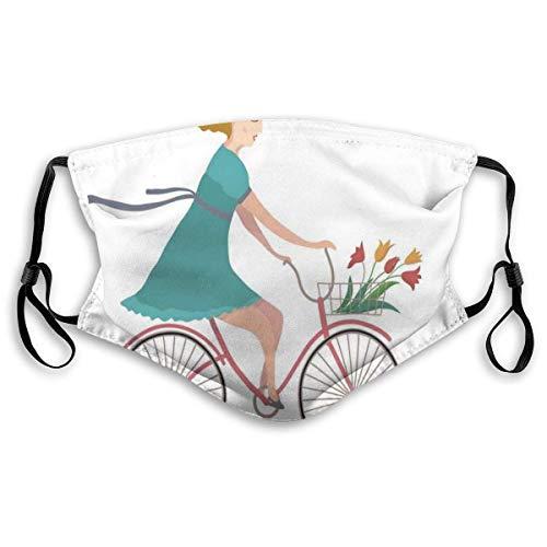 Mond Ma-sk, jonge vrouw op de fiets met mand van tulpenbloemen die in het lentelandschap rijden, geprinte gezichtsdecoraties met filter voor volwassenen kind