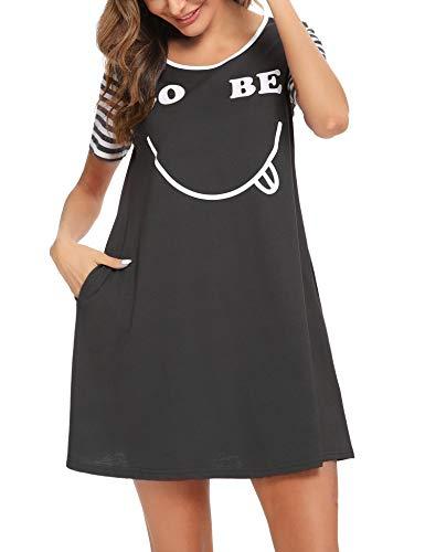 Irevial Damska koszula nocna, bawełna, słodki uśmiech, krótki rękaw, Scoopneck, koszula ciążowa, piżama, koszula nocna, bielizna nocna