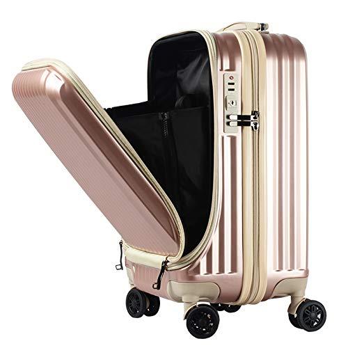フロントオープン スーツケース 機内持ち込み キャリーバック キャリーケース SSサイズ 軽量 TSAロック 115cm ファスナータイプ BASILO-108 前ポケット (ピンクゴールド×アイボリー)
