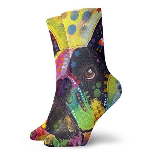 Kevin-Shop Color Art Little Bulldog personalità da Uomo e da Donna Calze Corte a Fantasia Divertente Calze Casual Calze a Girocollo