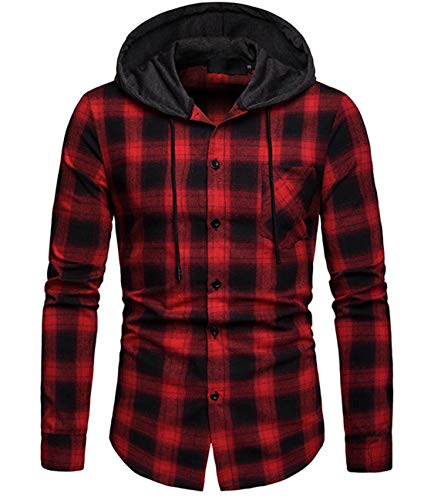 Cyiozlir Herren Kariert Hemd Kapuzenpullover Langarm Hooded Freizeithemd Karohemd Flanellhemd mit Kapuze (Rot_A112,Large)