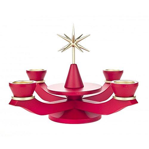 Dregeno Erzgebirge - Adventsleuchter ohne Bestückung für Teelichter rot - 21cm