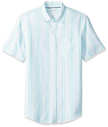 Amazon Essentials Camisa de Lino y algodón de Manga Corta Ajustada Hombre