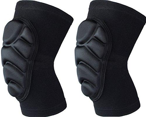 Aoakua膝衝撃吸収プロテクターニーパッドサポータースポーツひざパッド左右セット黒(L)