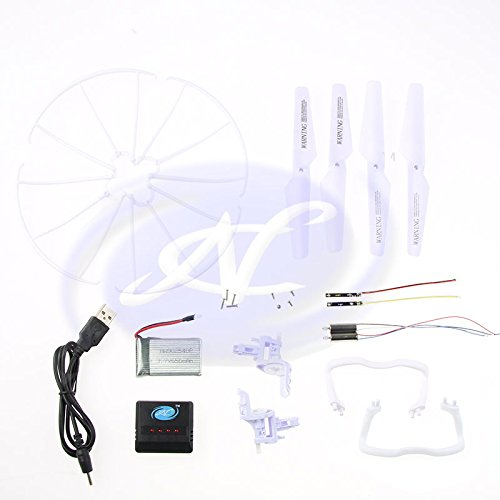 RC TOYS VILLAGE NC Replacement Parts Set, Battery, USB Cable, Charger Box, Motor Base, Main Blades, Propellers Protectors, Light Kits for Syma X5 X5C