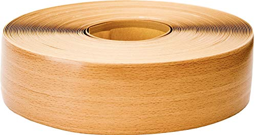 Weichsockelleiste selbstklebend, 25m Rolle, Sockelleiste für Laminat, Parkett und Vinyl, Winkelleiste aus Kunststoff, Abschlussleiste für Boden und Wand (buche)