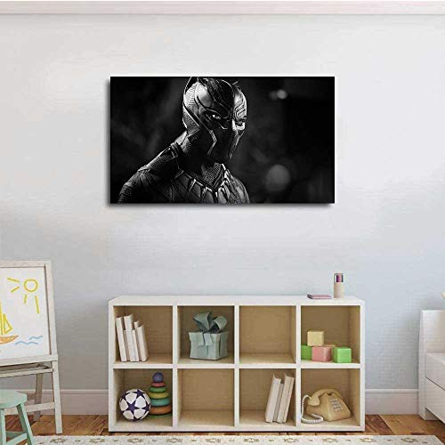"""OUDNGS BlackSuperheroes Black Panther Monochrome 4k 19 Pink Canvas Wall Art 24""""x20"""" No Frame"""