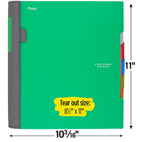 Five Star Advance Spiral Notebook, 5 Subject, College Ruled Paper, 200 Sheets, 11 x 8-1/2 inches, Green (73148) Photo #2