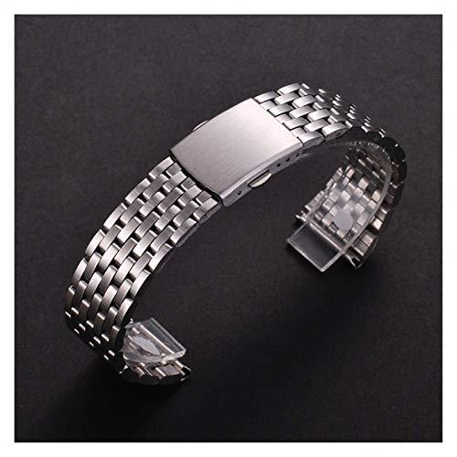 REDCVBN Correas de Reloj compatibles con Correa de Reloj de Acero Inoxidable de 18 mm 20 mm 22 mm para Samsung Gear S2 S3 Pulsera de eslabones de Reloj Inteligente Negro para Samsung Gear S2 (Tamaño