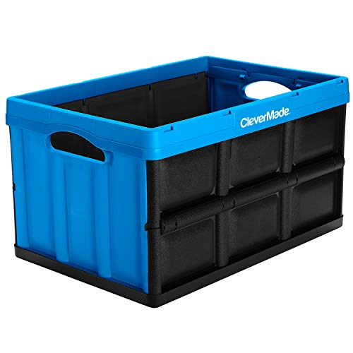 CleverMade 46L Collapsible Storage Bins - Durable Folding Plastic Stackable Utility Crates, Solid Wall CleverCrates, Neptune Blue