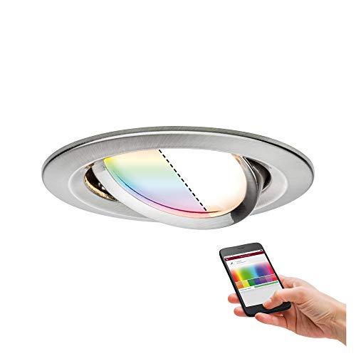 Paulmann 92964 Nova Plus LED Einbauleuchte Smart Home Zigbee RGBW rund schwenkbar incl. 1x2,5 Watt dimmbar Einbaustrahler Eisen gebürstet Spot Alu Zink Einbaulampe 2700 K