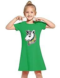 Green Cotton Short Sleeves Unicorn T-Shirt Dress