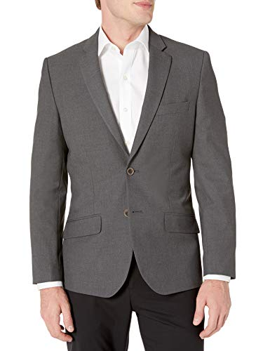 Amazon Essentials Men's Long-Sleeve Button-Front Slim-fit Stretch Blazer, Charcoal, 50
