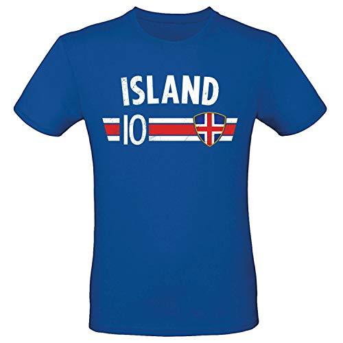 Shirt-Panda Fußball WM T-Shirt · Fan Artikel · Nummer 10 · Passend zur Weltmeisterschaft · Nationalmannschaft Länder Trikot Jersey für 2022 · Herren Damen Kinder · Island Iceland XL