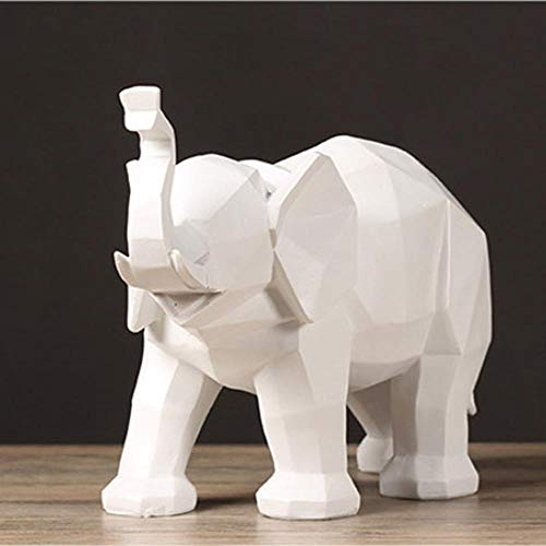 Wangbo Elefante Abstracto Moderno Escultura Resina Animal Estatua estatuilla Estilo geométrico hogar Escritorio Oficina decoración Regalo