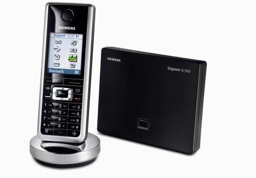 Siemens Gigaset SL 560, schnurloses DECT Telefon mit integrierter Bluetooth-Funktionalität, lackschwarz