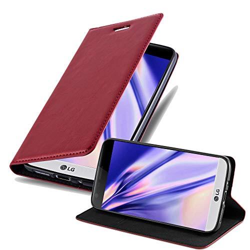 Cadorabo Hülle für LG G5 - Hülle in Apfel ROT – Handyhülle mit Magnetverschluss, Standfunktion und Kartenfach - Case Cover Schutzhülle Etui Tasche Book Klapp Style