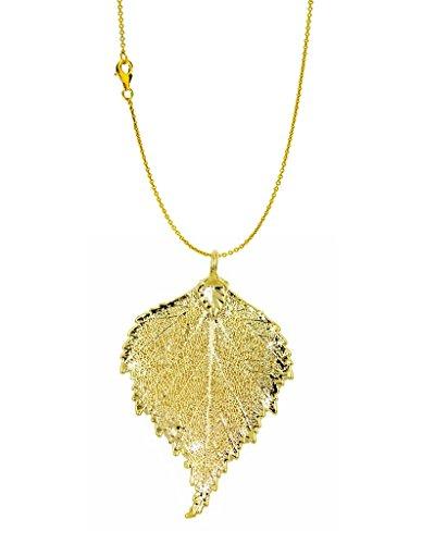 Colgante con hojas reales de abedul chapado en oro con cadena