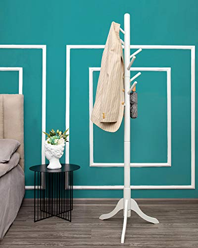Wooden Coat Rack Free Standing, Sturdy Rustic Hall Tree Coat Tree Coat Hanger with 8 Hooks, for Coat, Hat, Clothes, Scarves, Handbags, Umbrella (White)