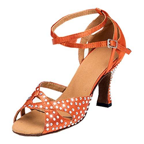 Damas Rhinestone Latino Rumba Tango Square Sala de baile Disco Salsa Jazz Tacón Bajo Peep Toe Danza Zapato, color Marrón, talla 39.5 EU