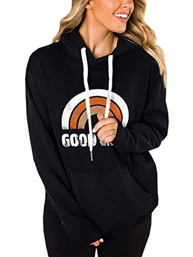 LACOZY Women's Casual Long Sleeve Shirt Tunic tops pullover hoodie Kint Sweaters for Women tops Black Orange Medium