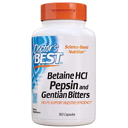 Doctor's Best Betaine HCI Pepsin & Gentian Bitters, Digestive Enzymes for Protein Breakdown & Absorption, Non-GMO, Gluten Free