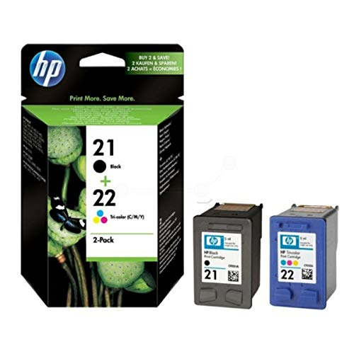 Original Tinten Spar-Set HP Nr 21 & Nr 22 SD367AE445 - 2 Tinten-Patronen - Schwarz, Cyan, Magenta, Gelb - 360 Seiten