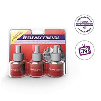 FELIWAY Friends – Anti Conflit pour Chat - Pack de 3 Recharges - 3 x 48 ml