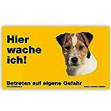 Schecker Panneau d'avertissement pour chien Inscription 'Hier wache ich! Jack Russel Terrier