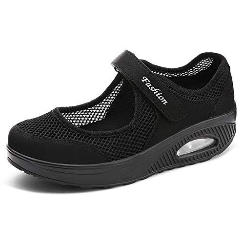 Sandalen Damen Freizeitschuhe Keilabsatz Leicht Walking Schuhe Plateau Turnschuhe Mesh Fitness Sneaker Laufschuhe Sommer Atmungsaktiv Espadrilles A-Schwarz-2 EU37