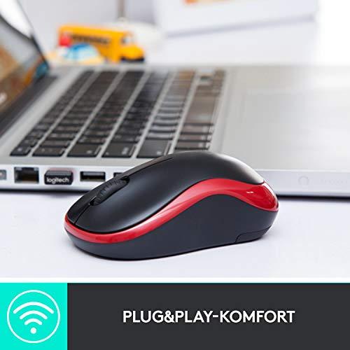 Logitech M185 Kabellose Maus, 2.4 GHz Verbindung via Nano-USB-Empfänger, 1000 DPI Optischer Sensor, 12-Monate Akkulaufzeit, Für Links- und Rechtshänder, PC/Mac – Rot - 6