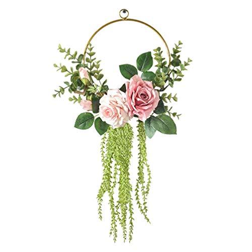 Guirnalda de aro Floral Flor de Rosa Media Guirnalda Colgante de Pared Colgante Telón de Fondo Guirnalda de Puerta para Puerta de Entrada Fiesta de Boda Decoración de guardería