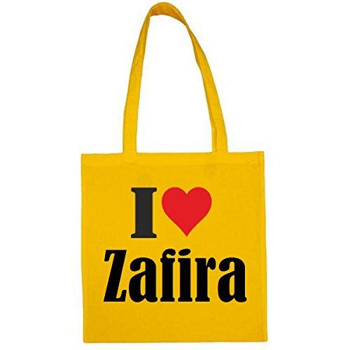 Tasche I Love Zafira Größe 38x42 Farbe Gelb Druck Schwarz
