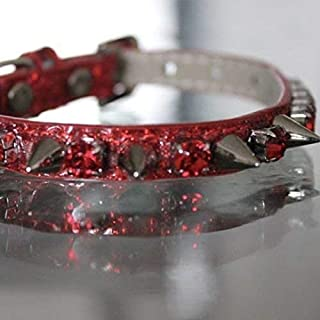 Dog Collars, Ruby Red Rhinestone and Spiked Collar - Red Hot Chili Peppers Inspired Dog Jewelry Collar Necklace, Size XS-S, RockStar Pet Collars TM