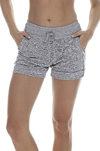 90 Degree By Reflex Soft and Comfy Activewear Lounge Shorts with Pockets and Drawstring for Women - Heather Grey - Medium