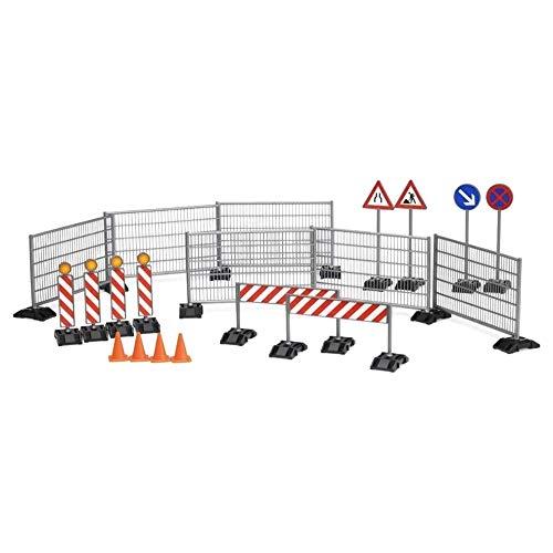 Himoto HSP 40-teiliges Baustellen Verkehrsschilder Set bestehend aus Warn-Schilder, Verkehrschilder,, Pylonen, DIY Set 1:20