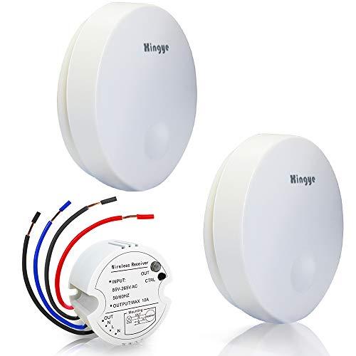 Kit de interruptor de luces inalámbricas, sin pilas,2 modos de encendido/apagado para luces de ventiladores, rango de control remoto de hasta 150 pies, ya emparejado por defecto