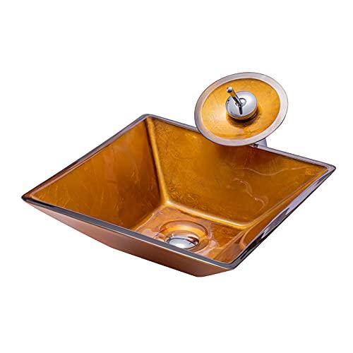 WXDL Lavabo Cristal Templado, Lavamanos de Baño Vidrio Templado Lavabo Cuadrado sobre...