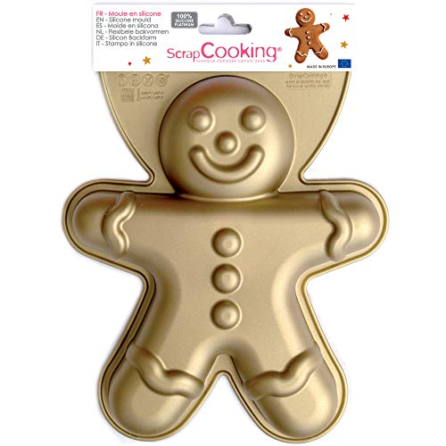 SCRAP COOKING 3152 Moule - Bonhomme, Silicone, Or, 27,5 x 22