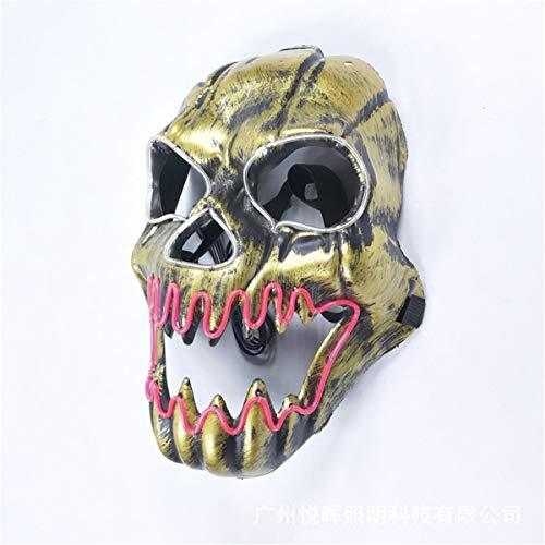 XUEE Halloween LED Light Up Mask Kostuum Mask El Wire gloeiend Cosplay Masker voor heren met doodskop voor feesten, carnaval, festival