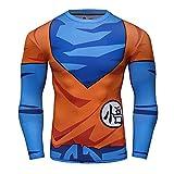 Anime Training Dragon Ball Goku GO Kanji 2.0 Costume Workout Compression Skin Long Sleeve T-Shirt for Men 2.0(L)
