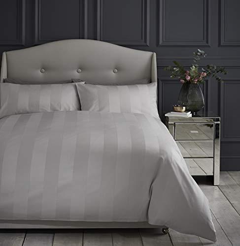 Silentnight Hotel Luxury Sateen Stripe 200 Thread Count Duvet Cover and Pillowcase Bedding Set, Silver, Single