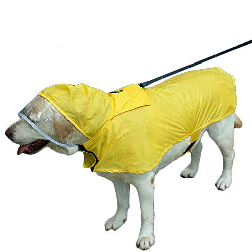 Duolemi Wasserdichter Hunde-Regenmantel Portable große Haustier-Regenjacke, Hunderegenmantel, justierbarer wasserdichter Regenmantel mit sicherem reflektierendem Streifen (XXL, Gelb)