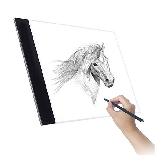 A4 LED Tableros de dibujo Caja de luz para calcar, la luz del pad, ultrafino Arte Tablero de trazado, ideal para animacion, tatoo, dibuja