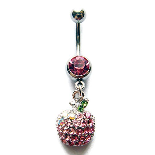 14g 3/8 Apple Belly Button Ring Navel Rings Ear Bar Piercing Jewelry