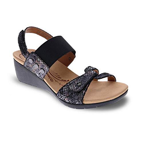 Revere Women's, Tahiti Sandals Black Python 10 M
