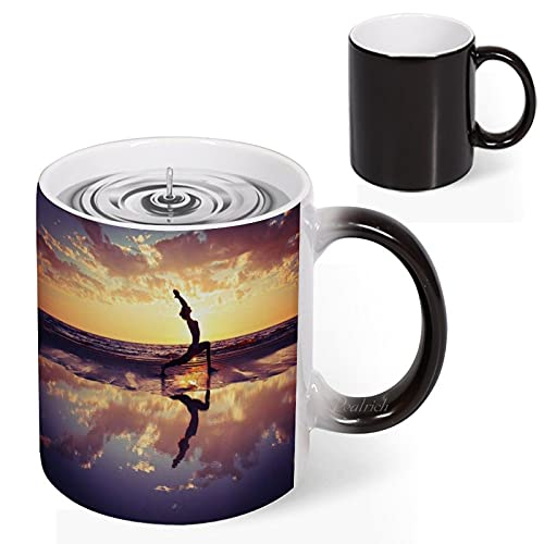 Color Changing Coffee Mug Beach Yoga Pilates Fitness Exercise Mum Heat Sensitive Tea Cup Magic Colour Changing Mugs Novelty Birthday Christmas Gift 11 Oz